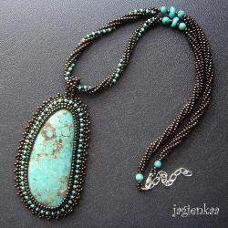 haft koralikowy,elegancki,unikalny,etniczny - Wisiory - Biżuteria