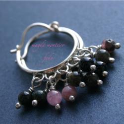 srebro,kolczyki,zielone,różowe,turmalin,osydowane - Kolczyki - Biżuteria