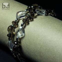 kwarc dymny,srebro,fasetowane minerały - Bransoletki - Biżuteria