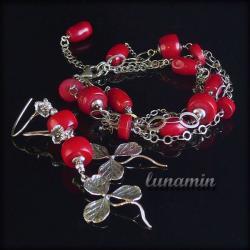 bransoleta,kolczyki,koral, - Komplety - Biżuteria