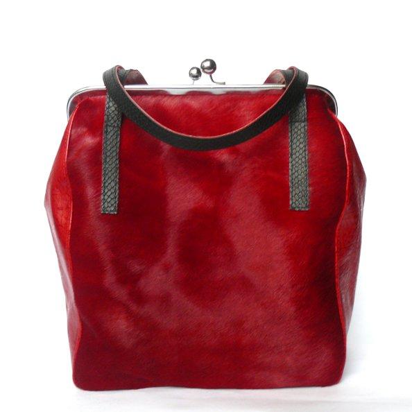 3f1c14f64253e Czerwona torba z futrem