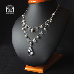 naszyjnik z kryształami i perłami swarovski - Naszyjniki - Biżuteria