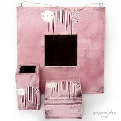koci komplet,drewniany,malowany,dla dziewczynki - Komplety - Wyposażenie wnętrz