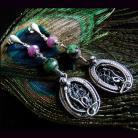 Kolczyki kolczyki,rubin,zoisyt,wire-wrapping,srebro,sztyfty