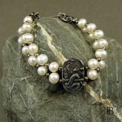 bransoleta,srebro,perły - Bransoletki - Biżuteria
