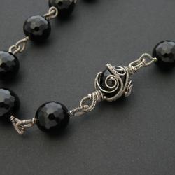 naszyjnik,czarny,elegancki,misterny,wrapping,onyks - Naszyjniki - Biżuteria