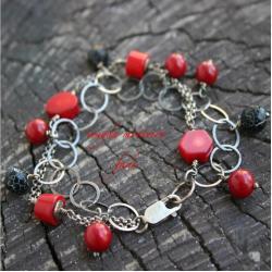 cygańska bransoletka,srebro,koral,agat,czerwona - Bransoletki - Biżuteria