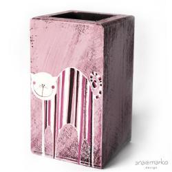 długopiśnik,na przybory,drewniane pudełeczko,kot - Pudełka - Wyposażenie wnętrz
