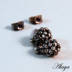 kolczyki,srebro,plecione,beading,sztyfty - Kolczyki - Biżuteria