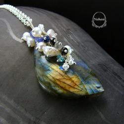 naszyjnik z labradorytem,Nehesi - Naszyjniki - Biżuteria