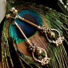 Kolczyki delikatne,srebro,złoto,wire-wrapping,piryt