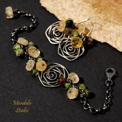 srebrna biżuteria,róże,motyw róży - Komplety - Biżuteria