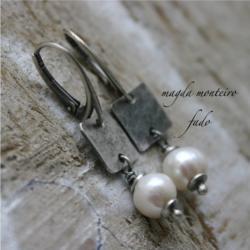 srebro,kolczyki,biały,fado,perłaoksydowany - Kolczyki - Biżuteria
