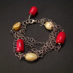 bransoletka,oksydowana,kolorowa,koral,opal - Bransoletki - Biżuteria