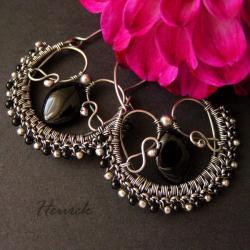 eleganckie,czarne,srebrne,kolczyki - Kolczyki - Biżuteria