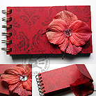 Notesy notes,notatnik,bordo,kwiat,guzik