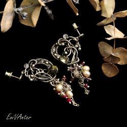 kolczyki,asymetria,wire-wrapping,księżycowe - Kolczyki - Biżuteria
