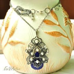 srebro,lapis lazuli,niebieski,wytworny,naszyjnik - Naszyjniki - Biżuteria