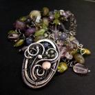 Naszyjniki srebro,wire-wrapping,medalion,bogaty,wisior,