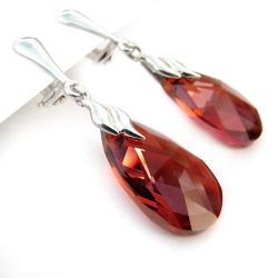 klipsy Swarovski Red Magma i srebro - Klipsy - Biżuteria