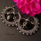 Kolczyki eleganckie,czarne,srebrne,kolczyki
