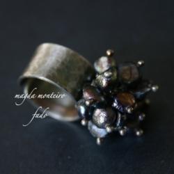 srebro,perły,czarny,pierścionek,oksydowany - Pierścionki - Biżuteria