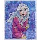 Ilustracje, rysunki, fotografia ilustracja,akwarela,zima,dziewczyna