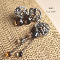 złoto,brązowy,kwarc dymny,misterny,elegancki - Komplety - Biżuteria