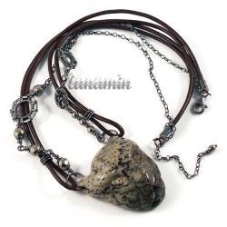 wire wrapping,unikat,lampart,naszyjnik - Naszyjniki - Biżuteria