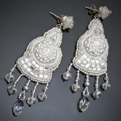 haft koralikowy,ślub,kolczyki ślubne, - Kolczyki - Biżuteria