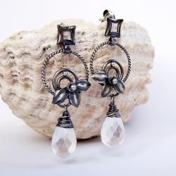 romantyczne,kwiatowe,ażurowe,lekkie,oksydowane - Kolczyki - Biżuteria