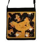 Na ramię torba,a4,sztruks,czarny,kot,żółty,joga