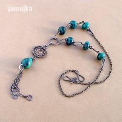 miedziany,pleciony,oksydowany,dekoracyjny - Naszyjniki - Biżuteria