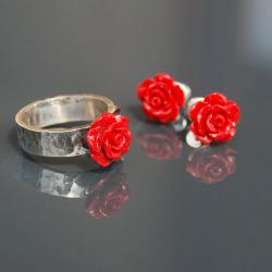 komplet biżuterii,komplet z różyczkami - Komplety - Biżuteria