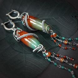 eleganckie,ekskluzywne,kobiece,wire-wrapping - Kolczyki - Biżuteria