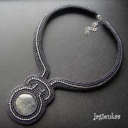 unikalny,elegancki,haftowany naszyjnik,jagienkaa - Naszyjniki - Biżuteria