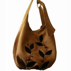 torba,worek,zamsz,alcantara,miodowy,A4,aplikacja - Na ramię - Torebki