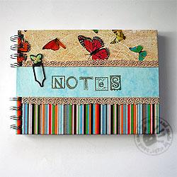 notes,motyl,paski,kolorowy,linie,wiosna, - Notesy - Akcesoria