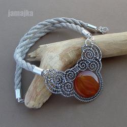 pleciony,ażurowy,agat,naszyjnik - Naszyjniki - Biżuteria