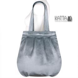 torba z aksamitu,srebrna torba,srebrzysty - Na ramię - Torebki