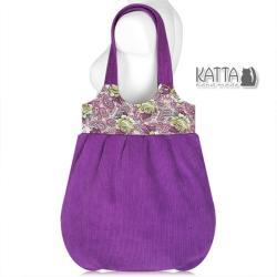 róże,fioletowa torba,duża torba,w kwiaty - Na ramię - Torebki