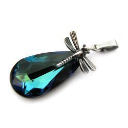 wisior Swarovski Bermuda Blue i srebro ważki - Wisiory - Biżuteria