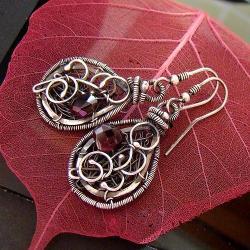 srebro,granat,kobiece,wire-wrapping,eleganckie - Kolczyki - Biżuteria