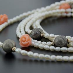 perły,naszyjnik,handmade - Naszyjniki - Biżuteria