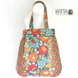 torba na lato,w kwiaty,płótno,kolorowa - Na ramię - Torebki
