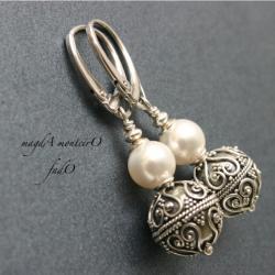 srebro,kolczyki,perły,bali,Swarovski,oksydowane - Kolczyki - Biżuteria
