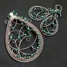 Komplety komplet biżuterii,wire-wrapping,kolczyki,wisior
