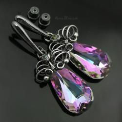 wire wrapping,swarovski,vitrail,sztyfty,klipsy - Kolczyki - Biżuteria