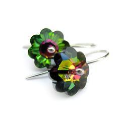 kolczyki swarovski kwiatki stokrotki i srebro - Kolczyki - Biżuteria