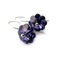 kolczyki Swarovski kwiatuszki i srebro - Kolczyki - Biżuteria